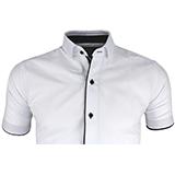 Biała Koszula krótki Rękaw Granatowe Guziki 4XL 8295144290  hDg1A